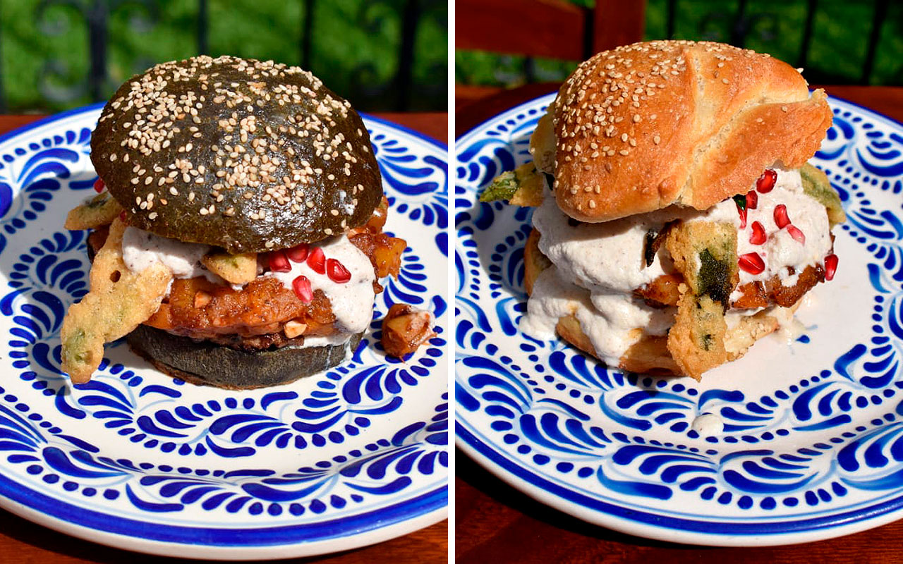 Crean en Puebla cemita y hamburguesa en nogada